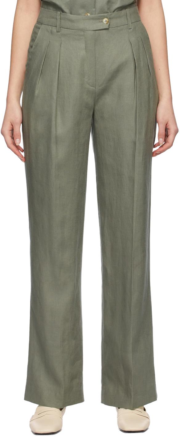 Green Linen Bidong Trousers