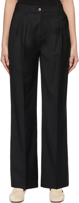 Black Super 120s Wool Sbiru Trousers