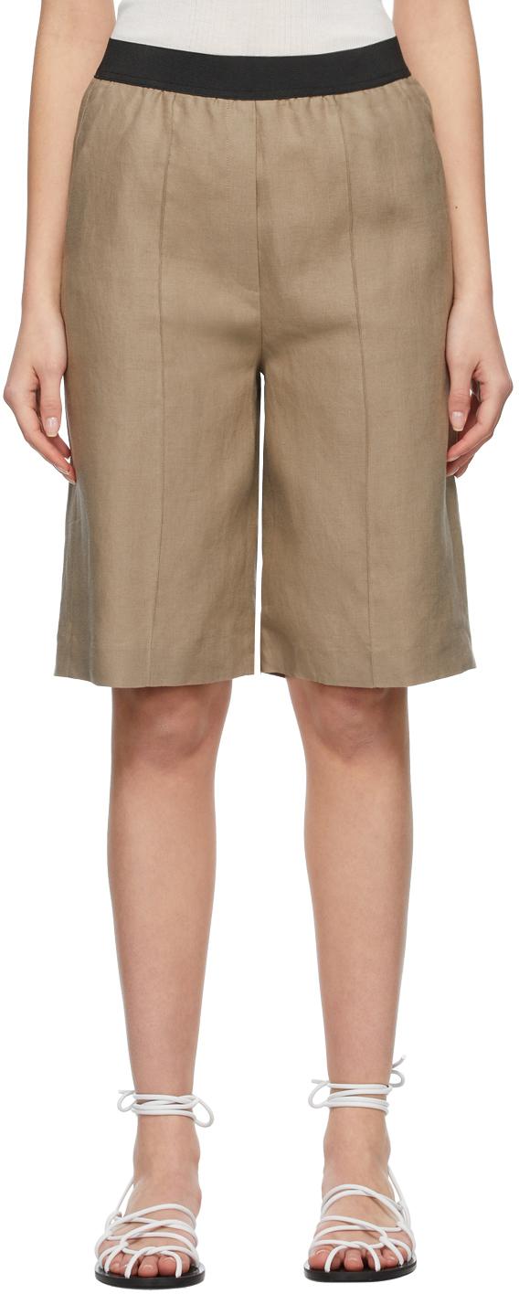 Taupe Linen Banggi Shorts