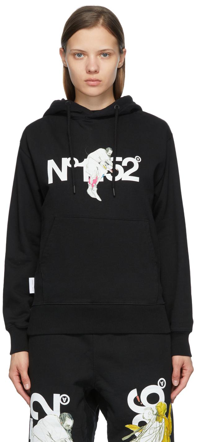 Black 'N.1452' Hoodie