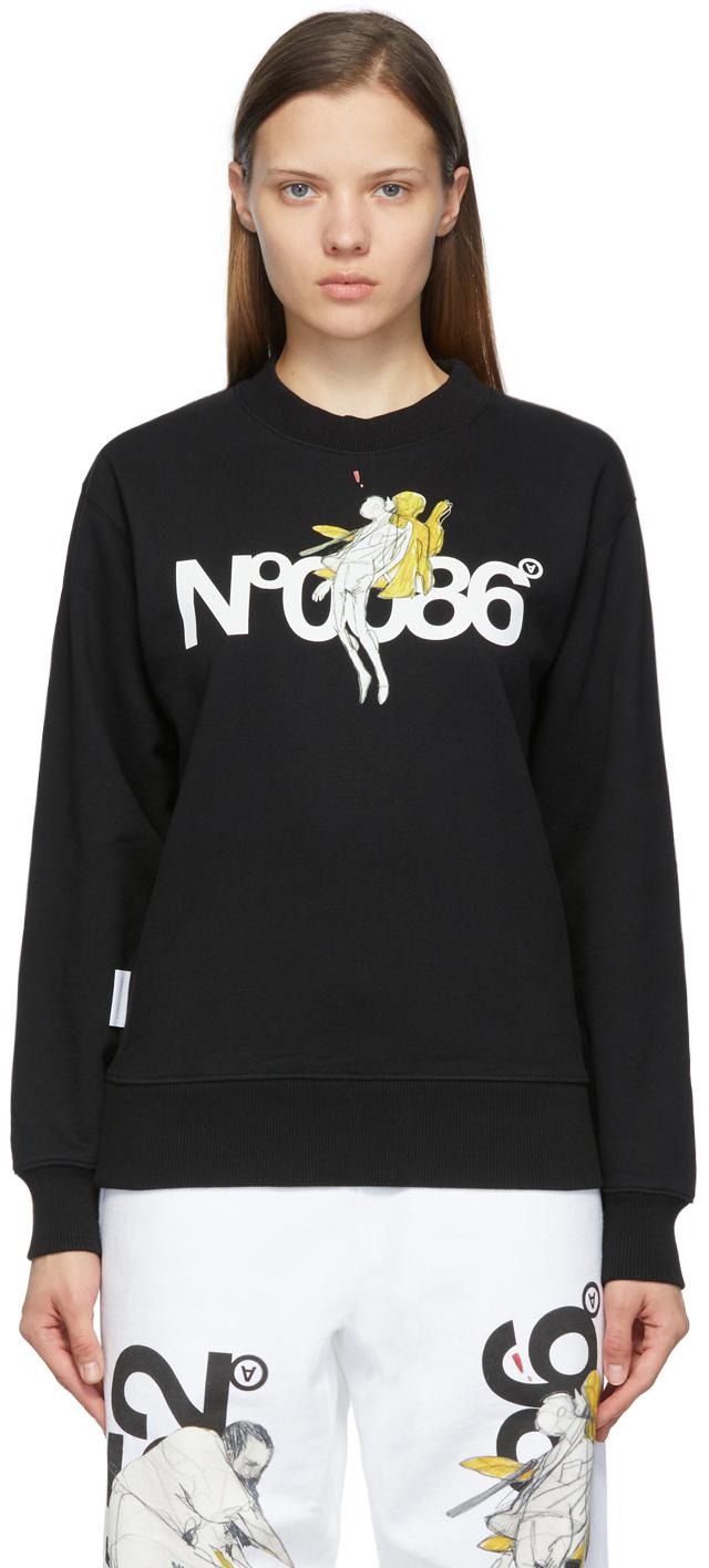 Black 'N.0086' Crewneck Sweatshirt