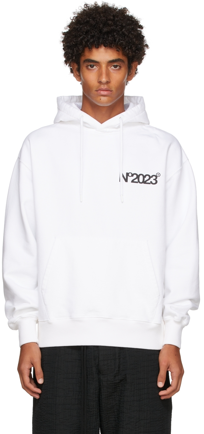 White 'No2023' Hoodie