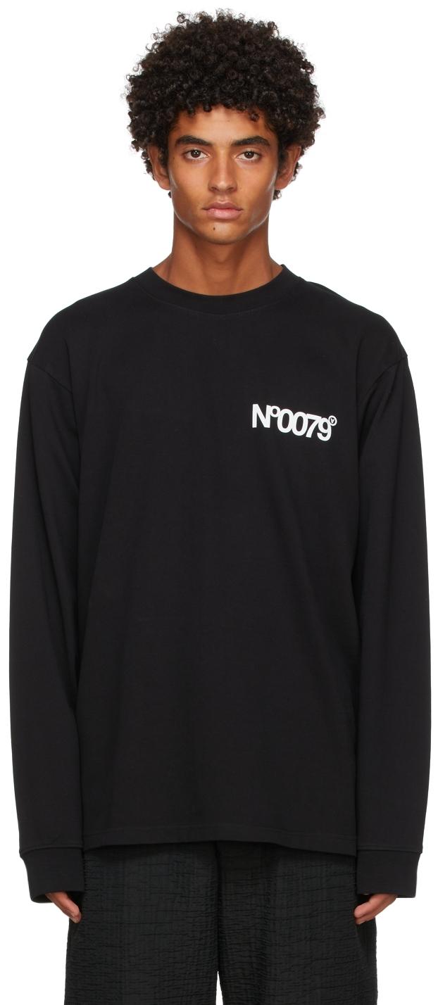 Black 'No0079' Long Sleeve T-Shirt