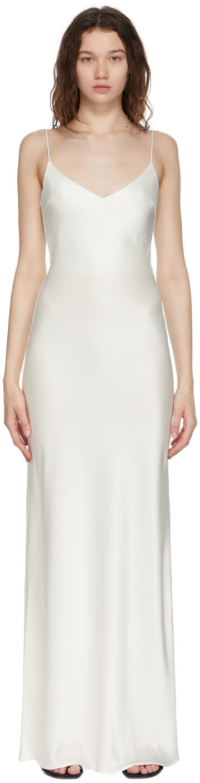 White Bias Slip Dress