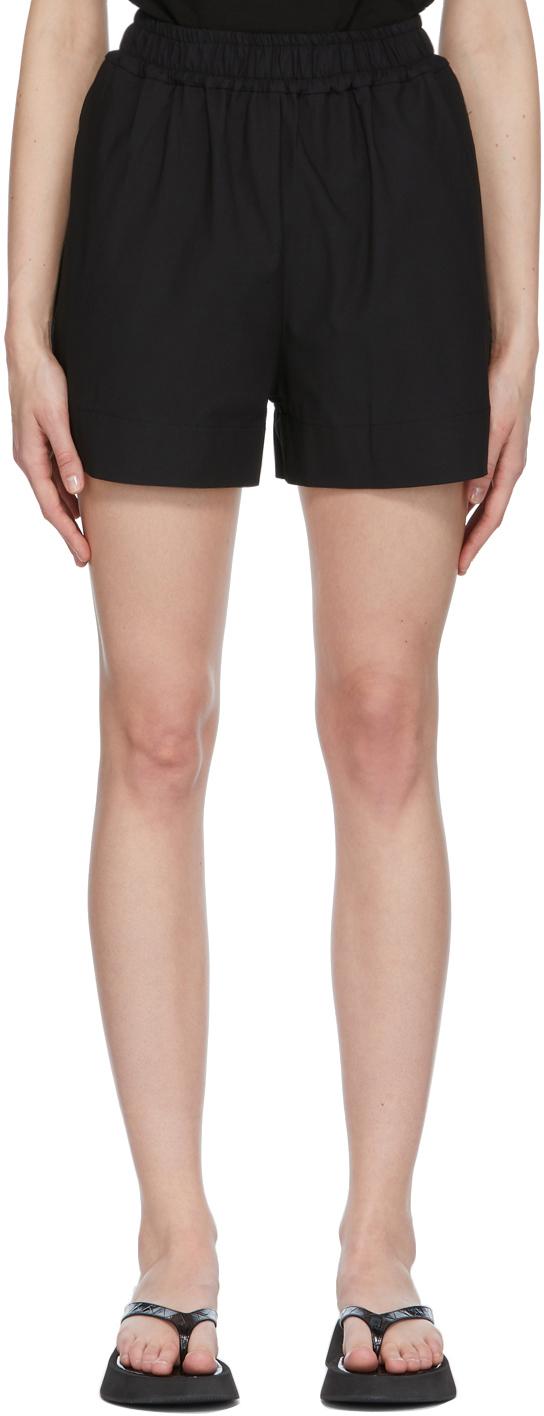 Black Gathered Shorts