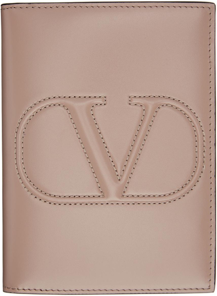 Valentino 粉色 VLogo 护照套