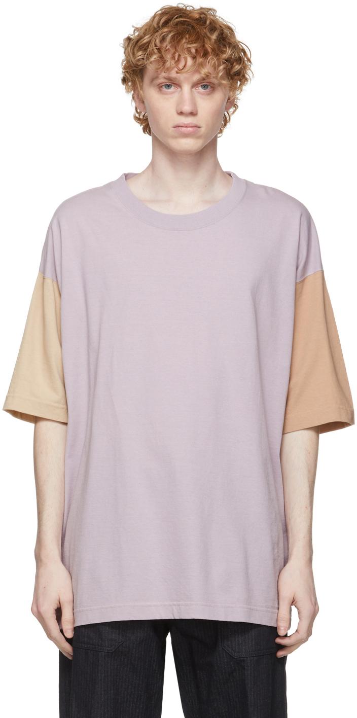ts(s) パープル カラーブロック Dry Touch T シャツ