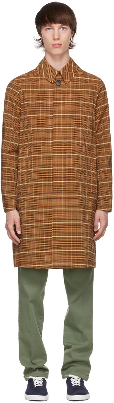 Orange & Black Check Aabbondio Coat