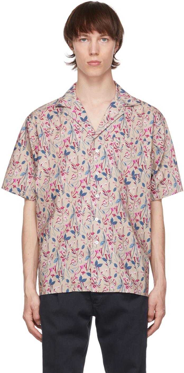 Taupe & Blue Flower Print Aambala Short Sleeve Shirt