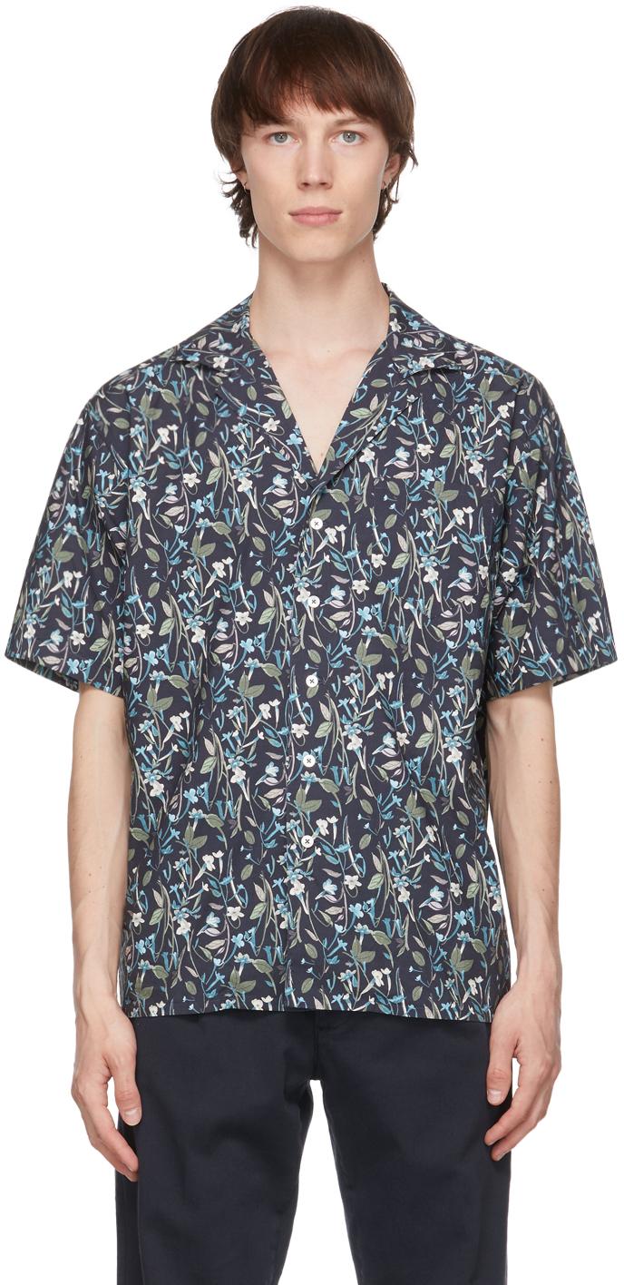 Black & Blue Flower Print Aambala Short Sleeve Shirt