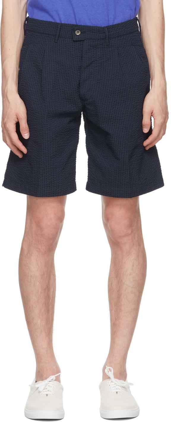 Navy Seersucker Aaza Shorts