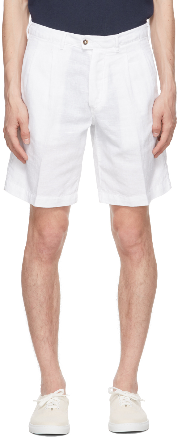 White Cotton & Linen Aaza Shorts