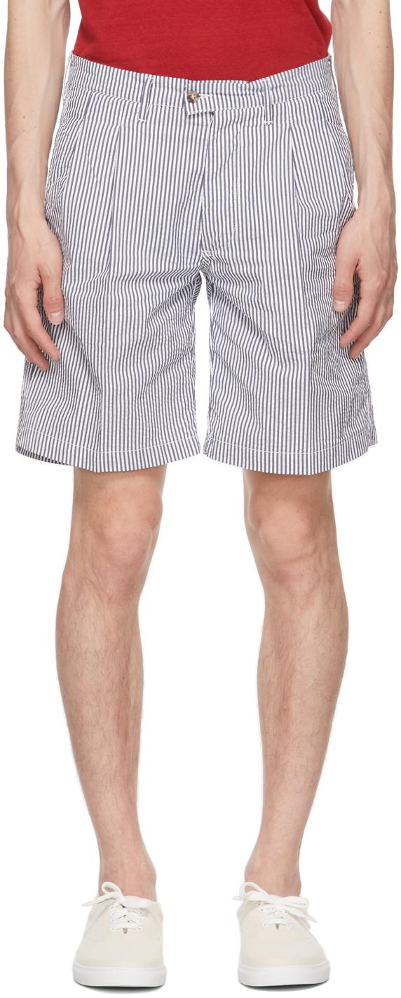 Grey & White Seersucker Striped Aaza Shorts