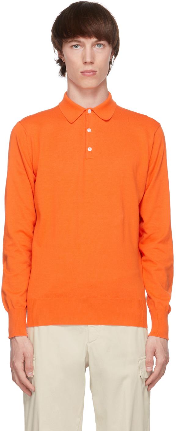 Orange Knit Aaric Long Sleeve Polo