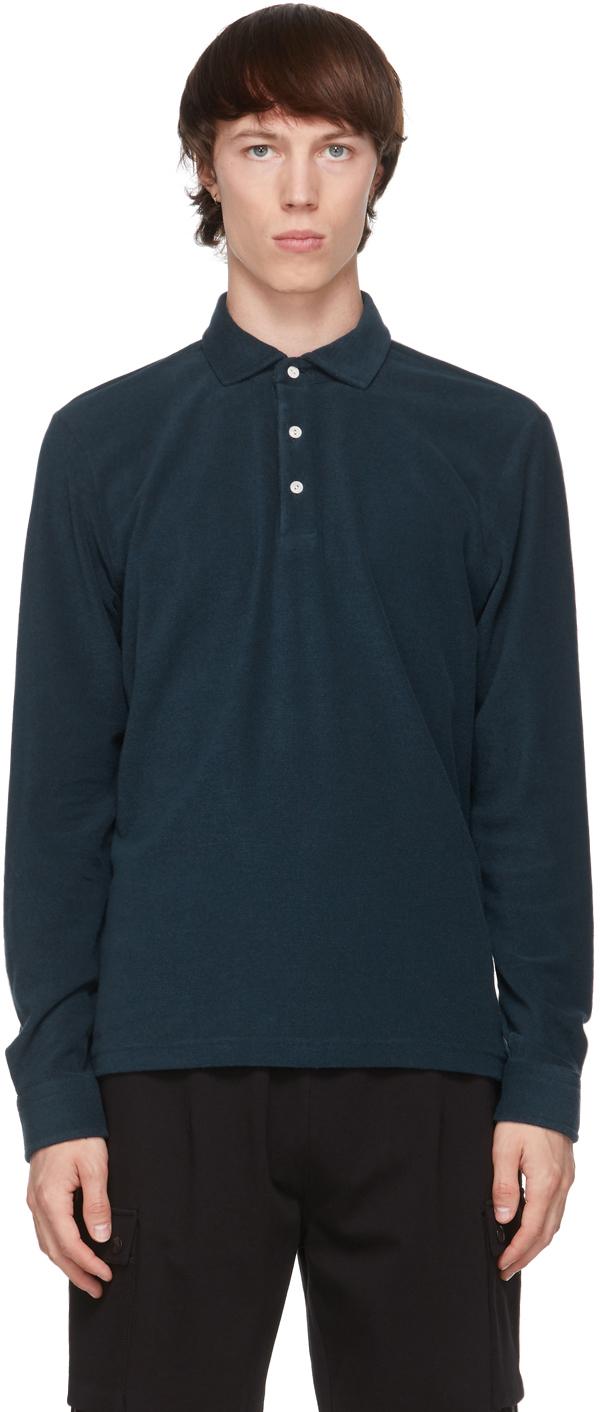 Navy Terry Aapollo Long Sleeve Polo