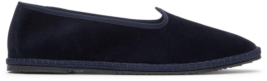 Navy Velvet Fulian Slipper Loafers