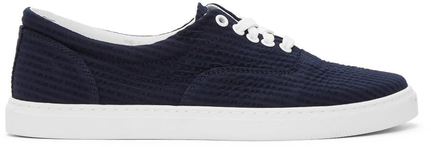 Navy Seersucker Aarox Sneakers