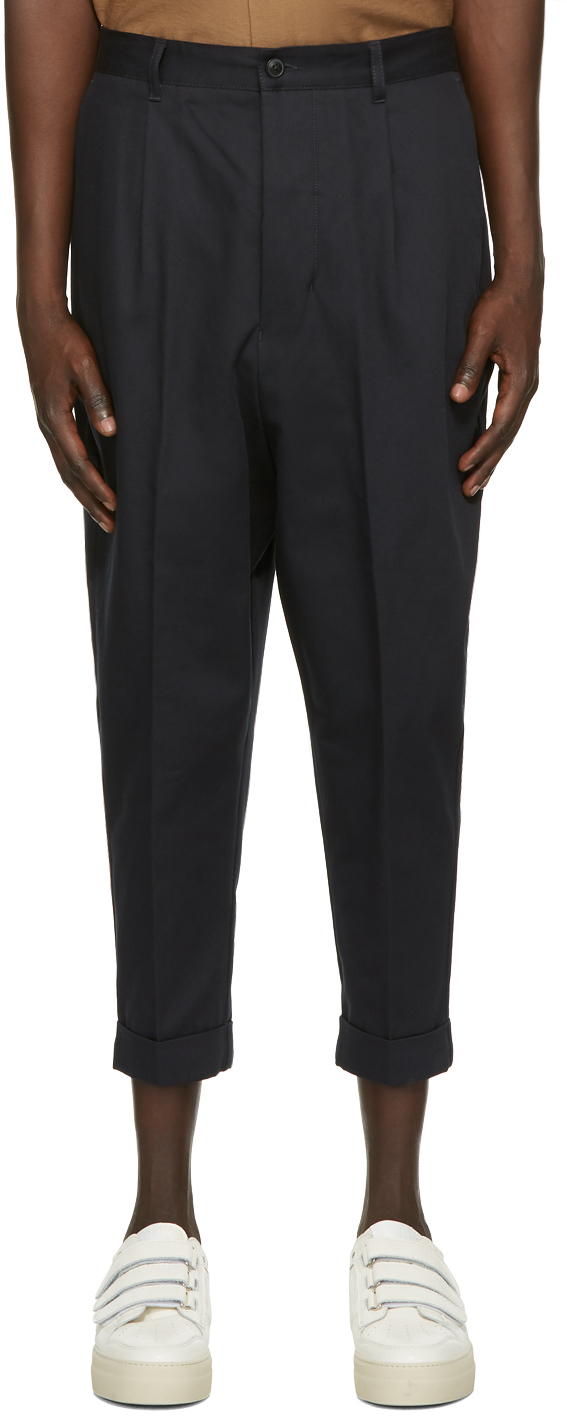 Navy Oversized Carrot Fit Trousers
