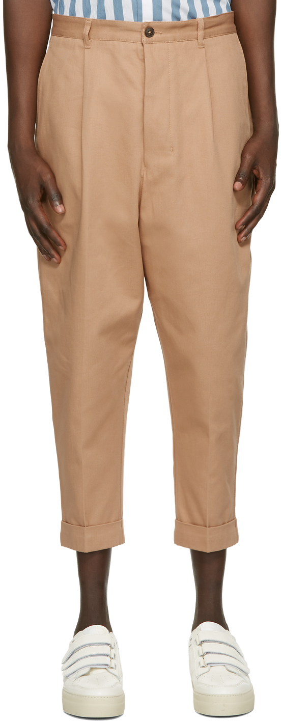 Beige Oversized Carrot Fit Trousers