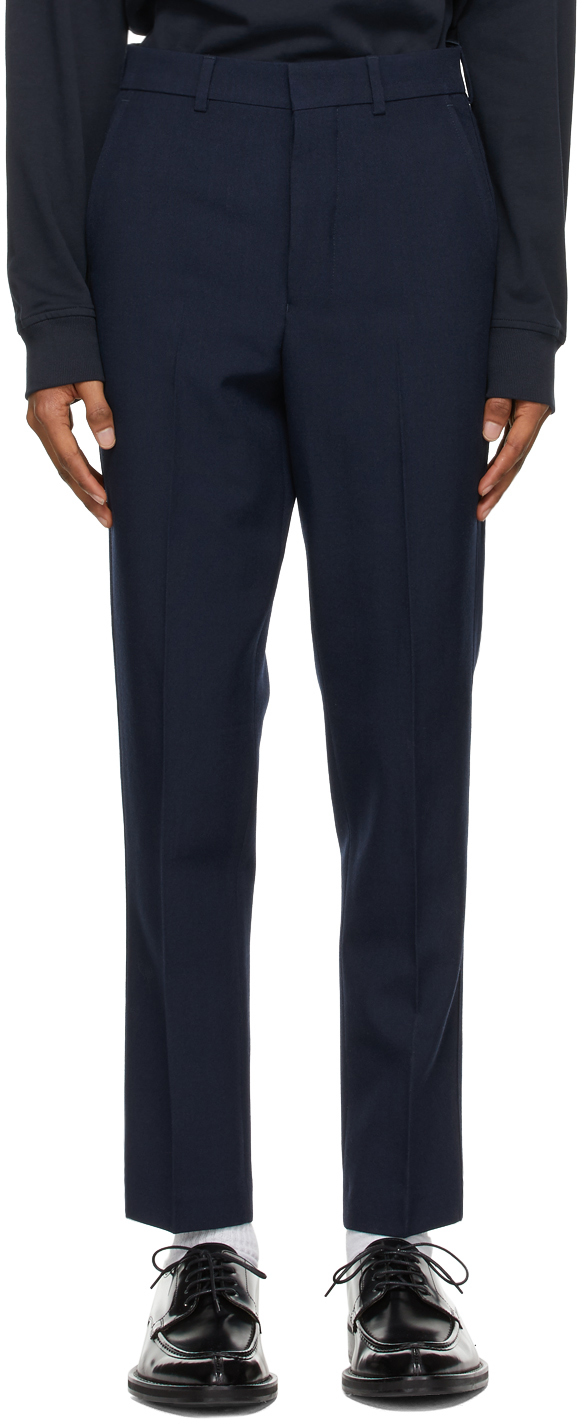 Navy Wool Carrot Fit Trousers