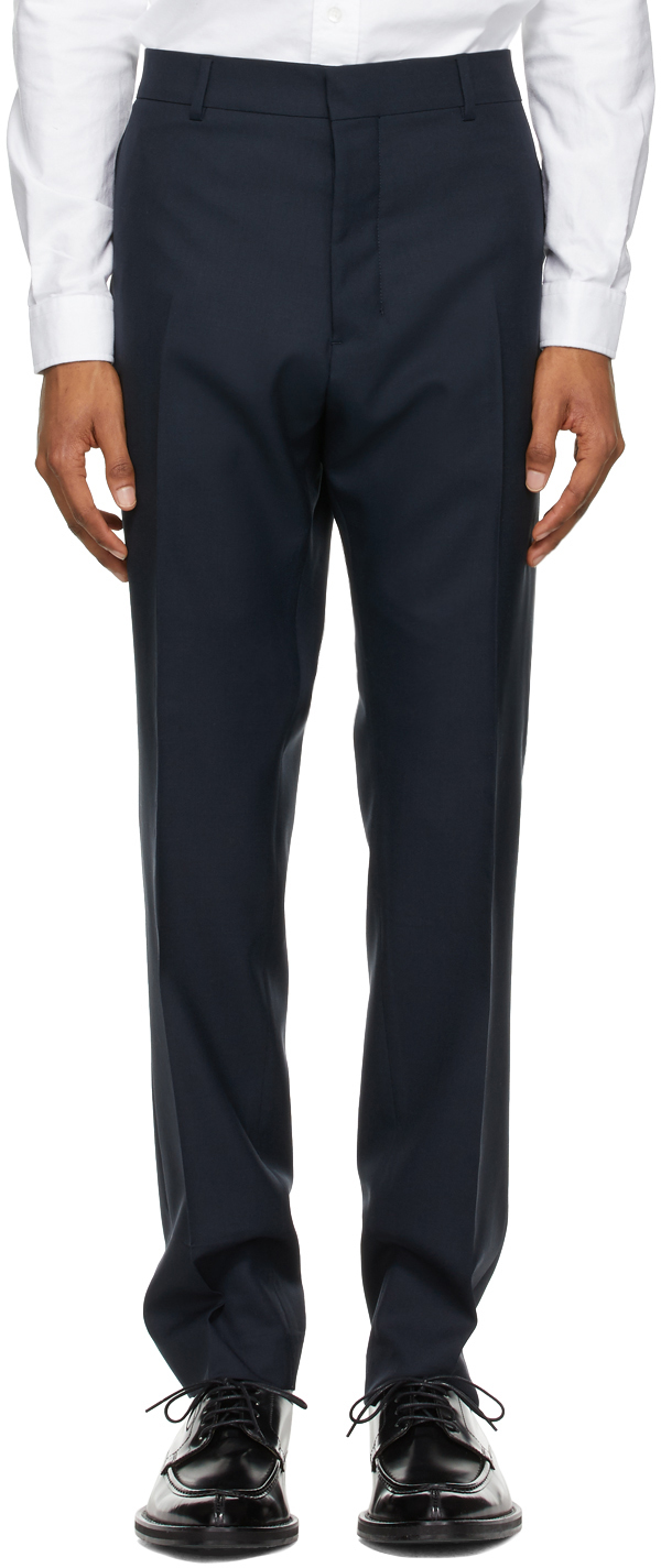 Navy Wool Cigarette Trousers