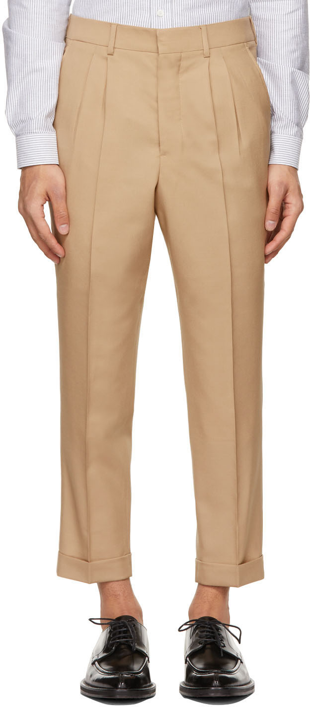 Beige Tropical Wool Carrot Fit Trousers