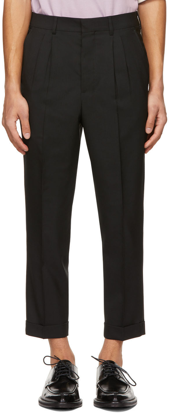 Black Tropical Wool Carrot Fit Trousers