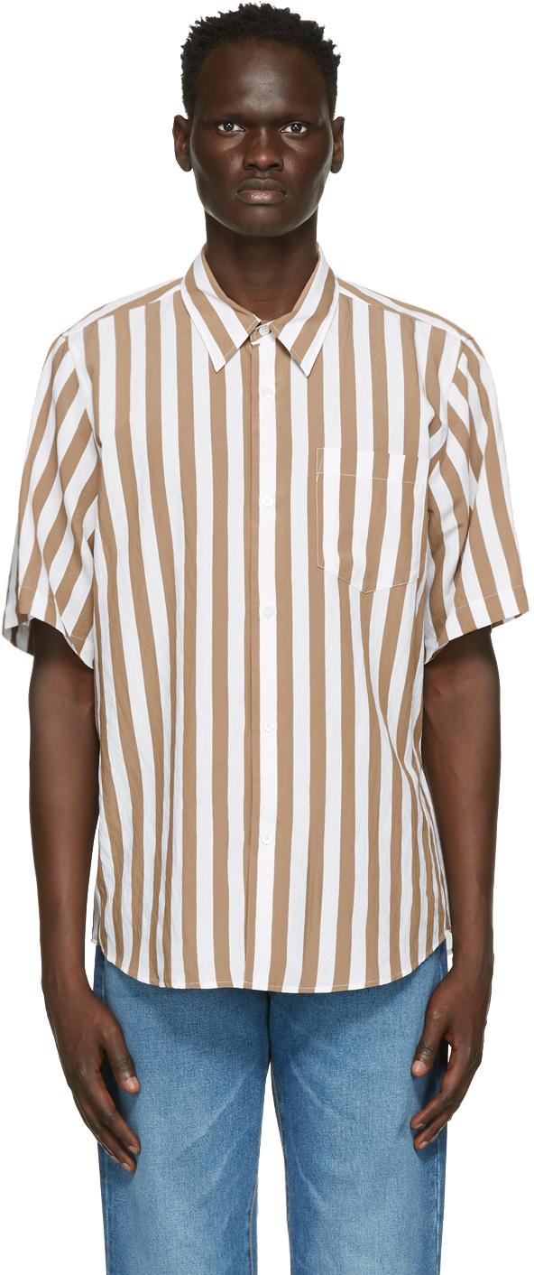 Brown & White Striped Short Sleeve Shirt