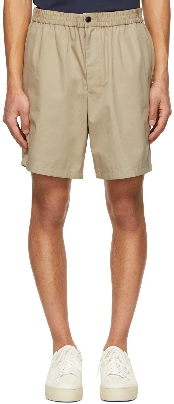 Beige Elasticized Waist Bermuda Shorts