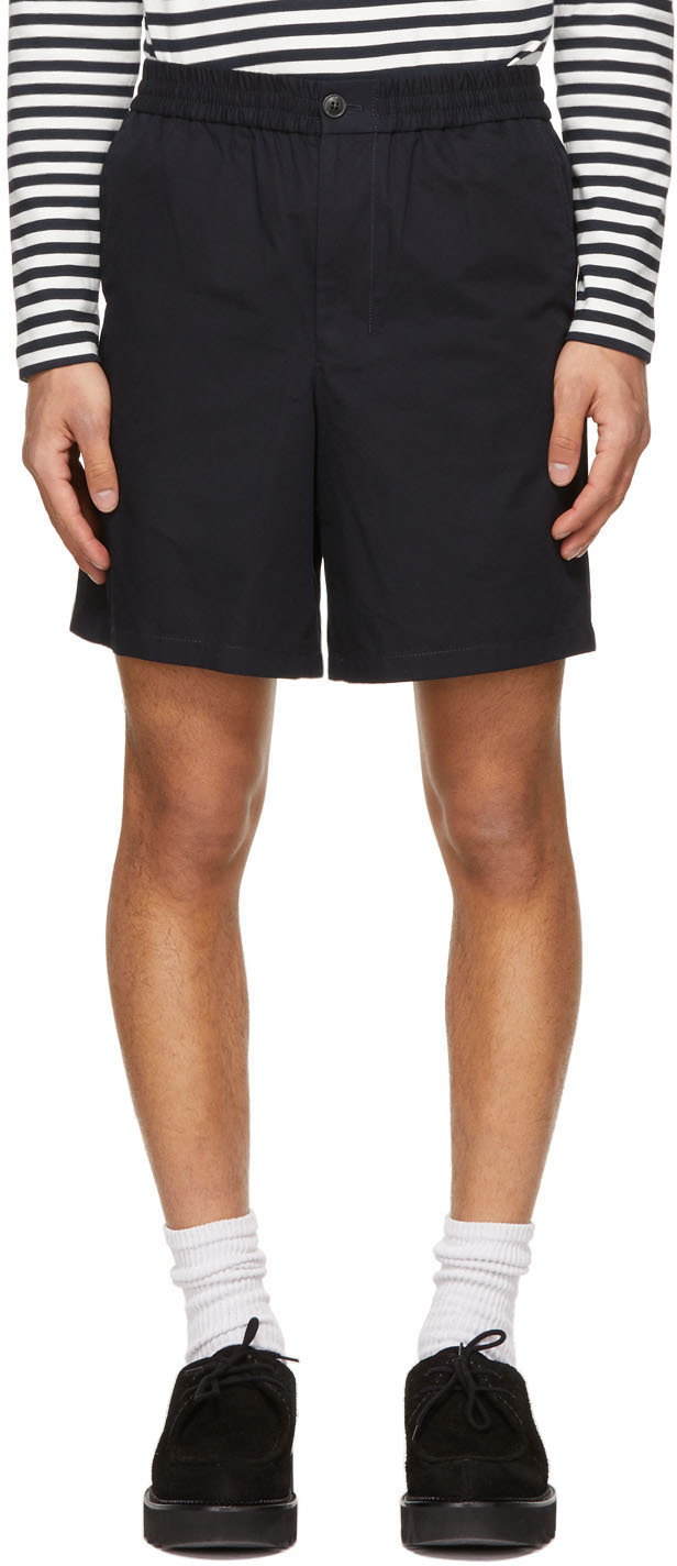 Navy Elasticized Waist Bermuda Shorts