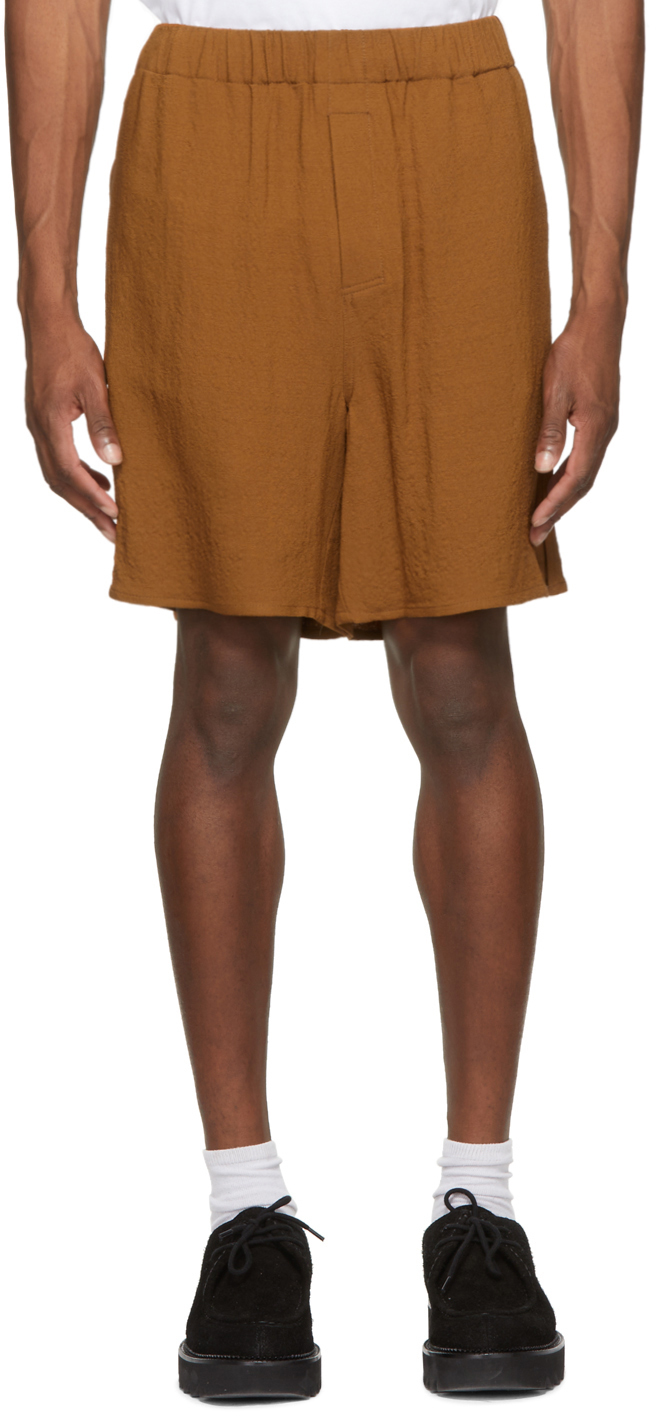 Brown Elasticized Waist Shorts