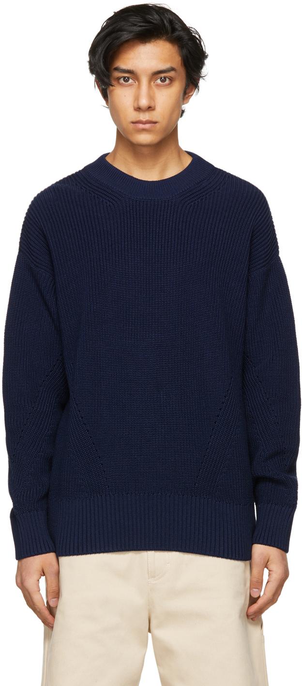 Navy Ribbed Boxy Sweater