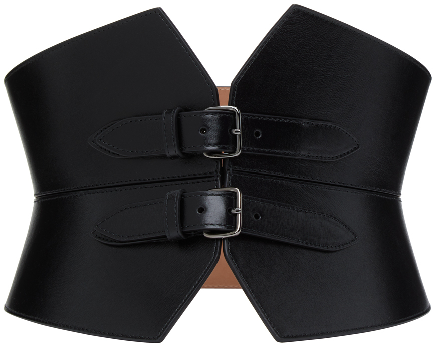 Black Double Buckle Corset Belt