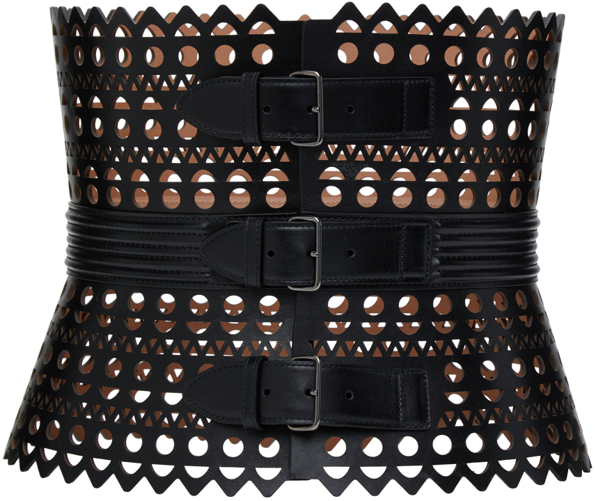 Black Vienne Three Buckle Corset Belt