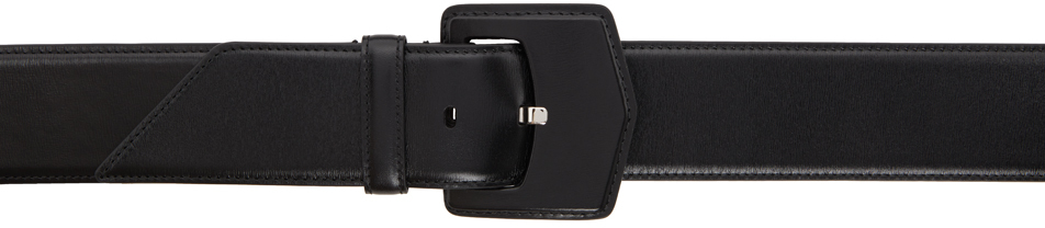 Black Oversized Flat Buckle Belt