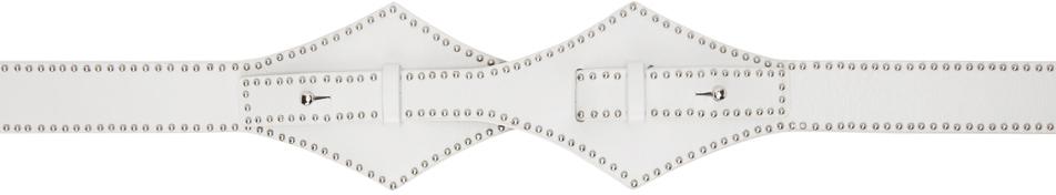 White Small Stud Cross Belt