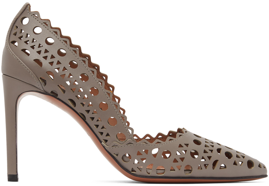 Taupe Leather Vienne Heels