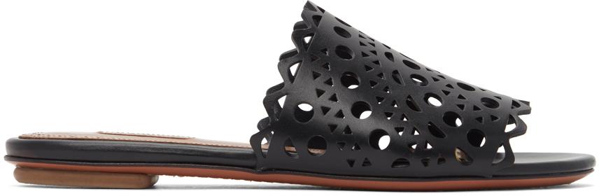 Black Vienne Vague Flat Mule Sandals
