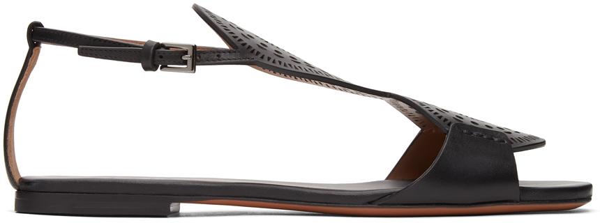 Black Plastron Openwork Flat Sandals