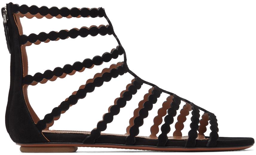 Black Suede Cage Flat Sandals