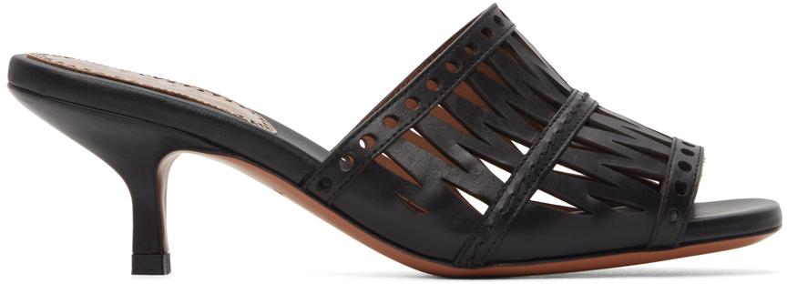 Black Openwork Decoupe Sandals