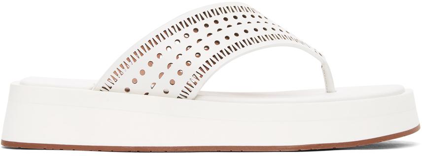 White Vienne Plastron Platform Sandals