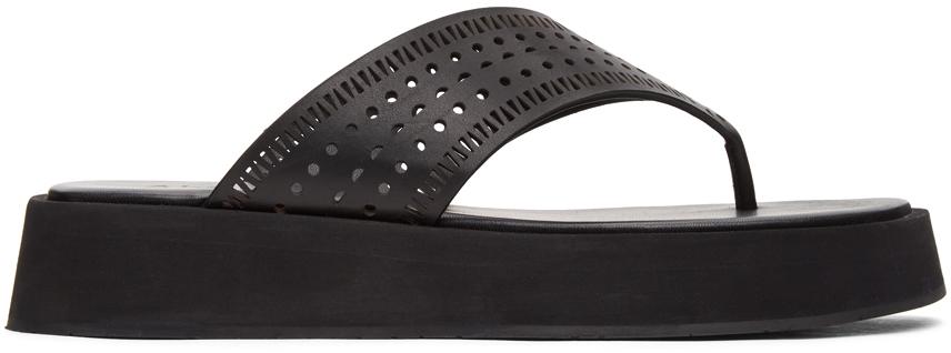 Black Vienne Plastron Platform Sandals