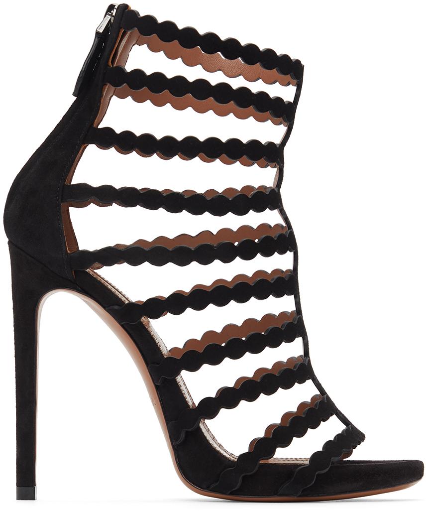 Black Suede Cage Heeled Sandals