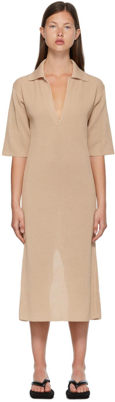 Beige Flat Yarn Rib Knit Skipper Dress