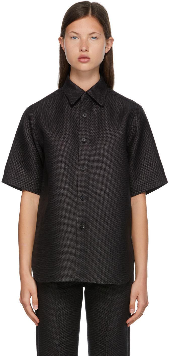 Black Washi Basket Half Sleeve Shirt