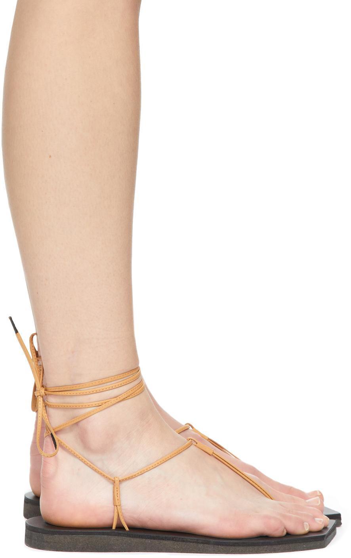 Beige & Black foot the coacher Edition Leather Lace-Up Sandals