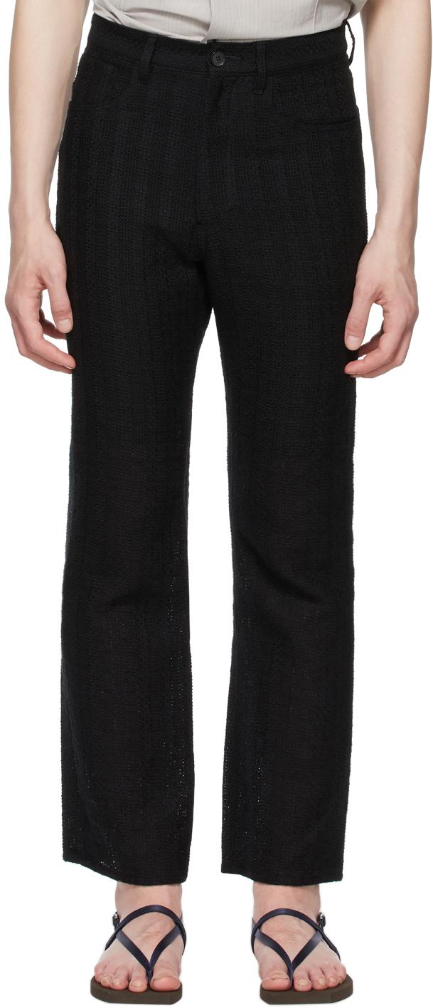 Black Linen Leno 5P Trousers