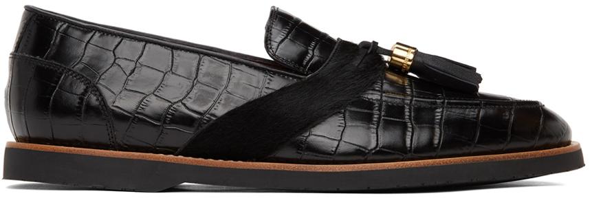 Black Croc Del Rey Loafers