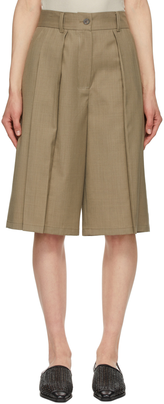 Brown Pleated Shorts